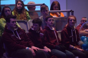 Galway City Comhairle members listen and discuss answers at the Dáil na nÓg 205 Q&A