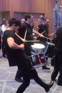 Drummers lead Comhairlí delegates into the main room
